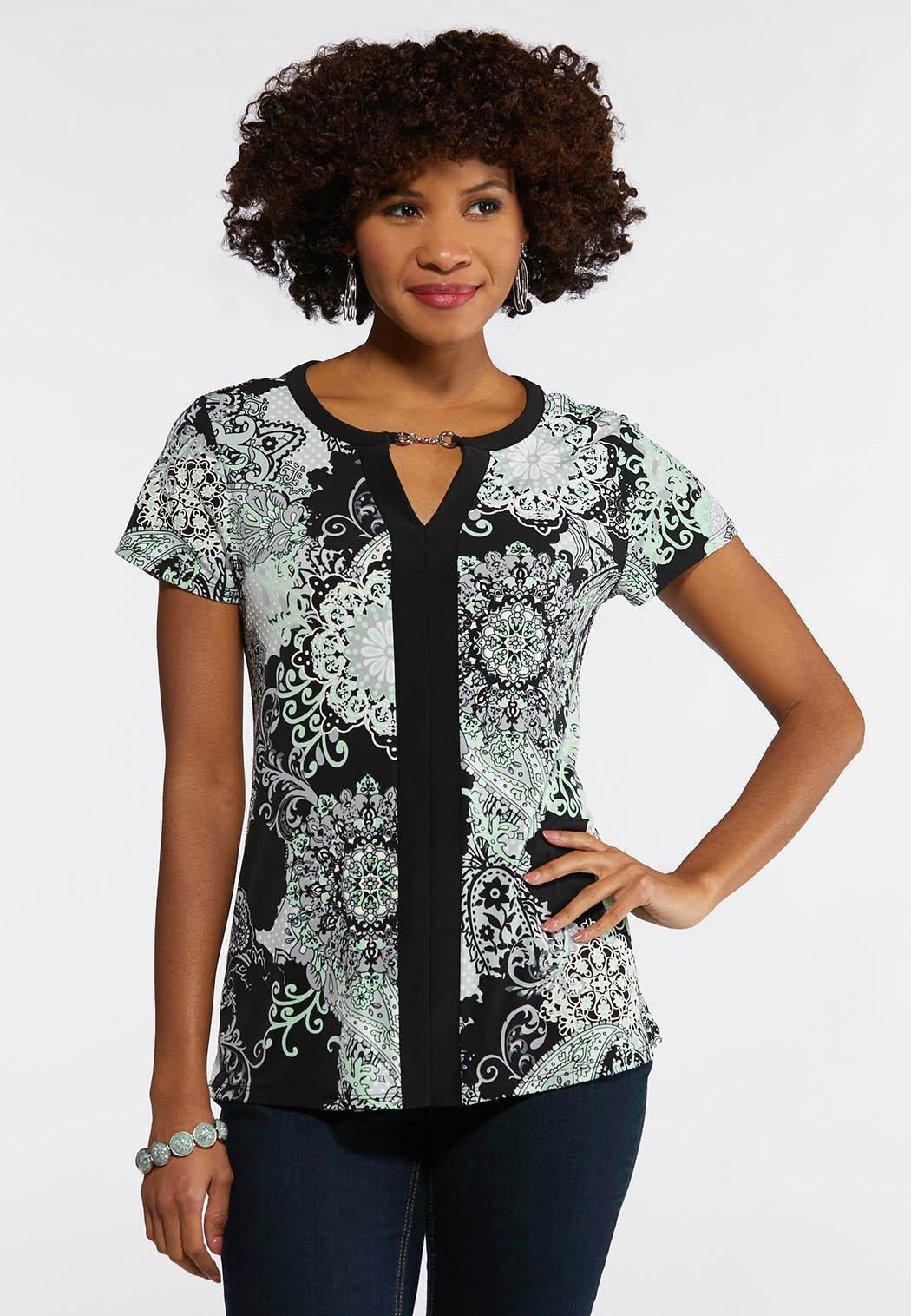 5e923267f09 Plus Size Mint Puff Print Top Tees   Knit Tops Cato Fashions