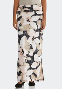 Plus Brushed Petal Maxi Skirt