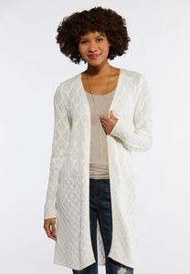 Plus Size Ivory Diamond Sweater Duster