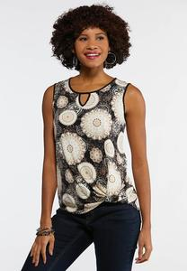 Plus Size Twisted Puff Medallion Tank