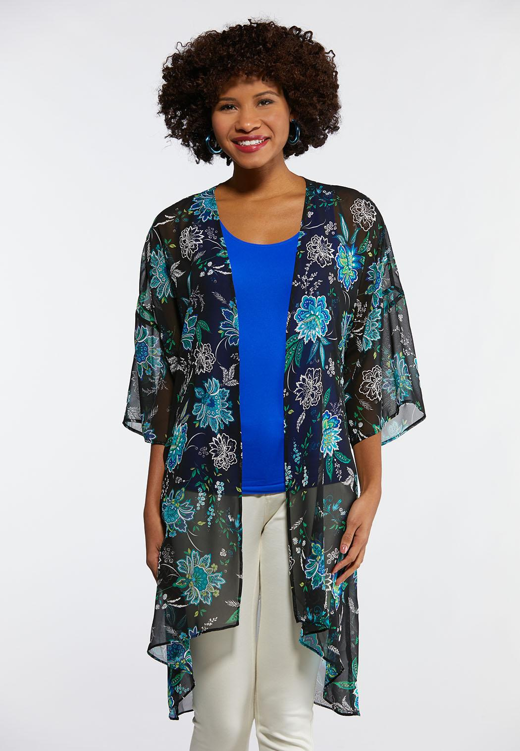 Floral Puff Print Kimono