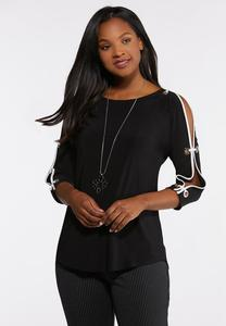 Plus Size Grommet Slit Sleeve Top