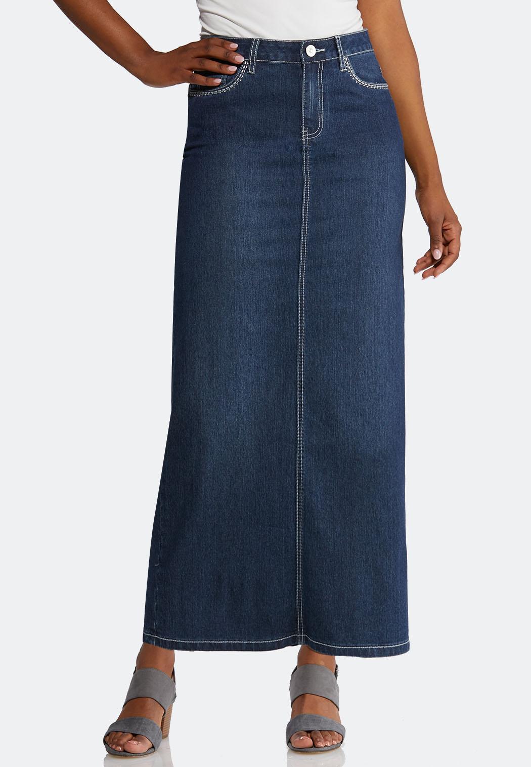 Plus Size Bling Pocket Denim Maxi Skirt