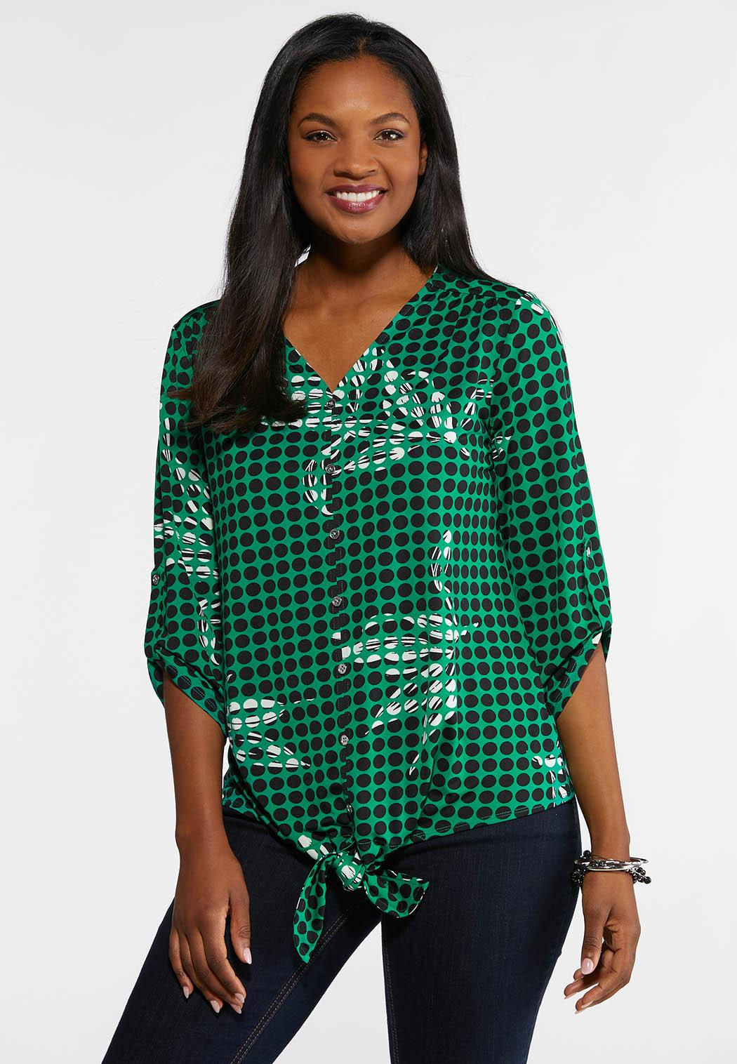 daa3e8bb4459d Green Dotted Tie Front Top Tees   Knit Tops Cato Fashions