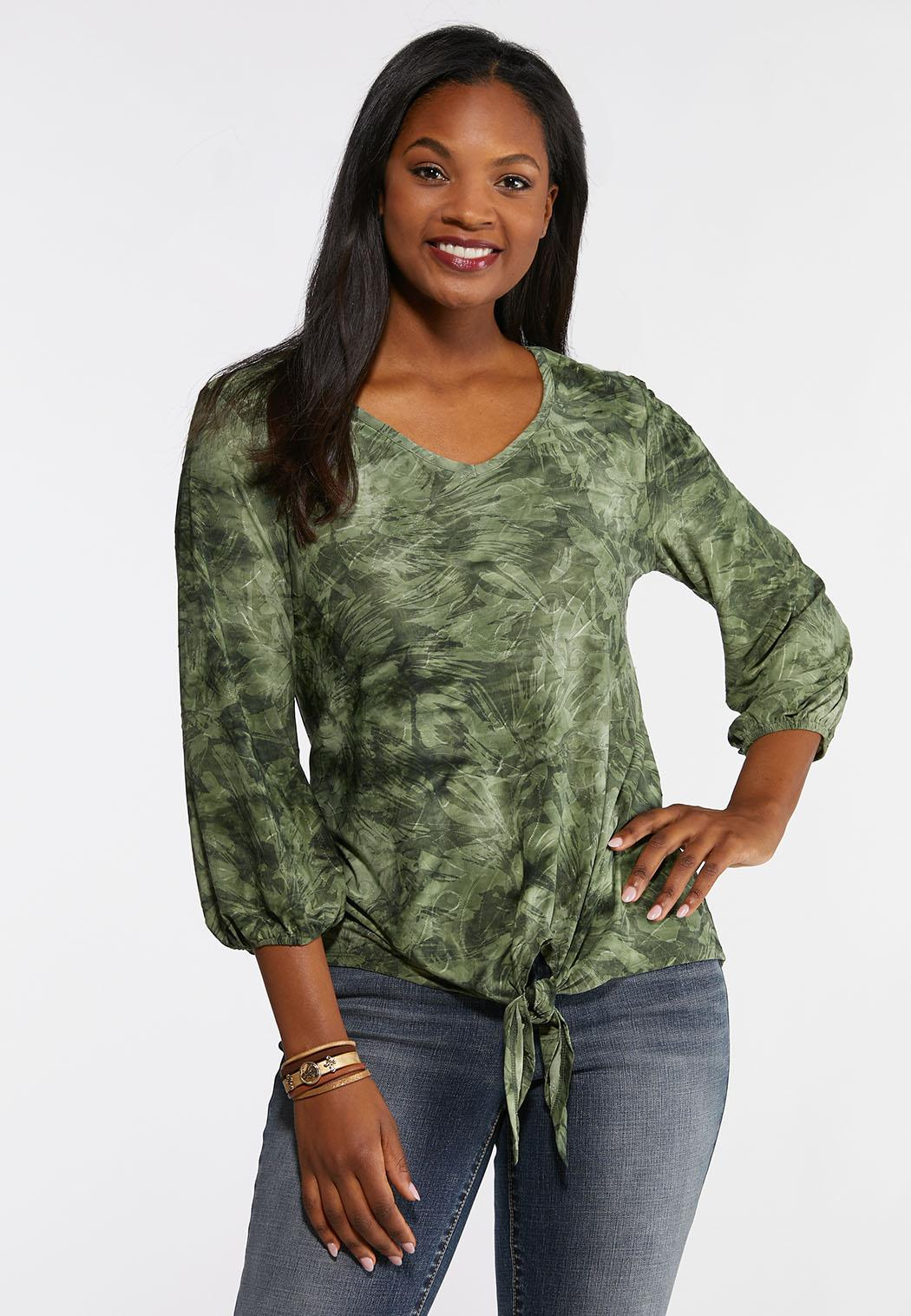 9bb48ac49b3 Plus Size Textured Tie Front Top Tees   Knit Tops Cato Fashions