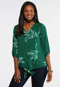 Plus Size Green Dotted Tie Front Top
