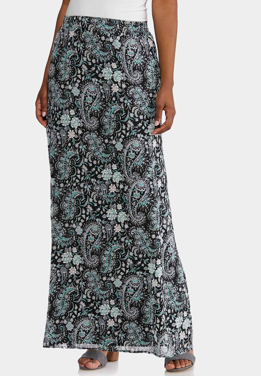 87779449de4 Puff Floral Paisley Maxi Skirt Skirts Cato Fashions