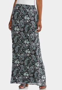 Puff Floral Paisley Maxi Skirt