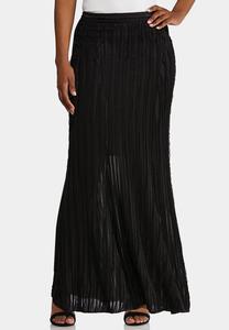 Plus Size Ruffly Textured Maxi Skirt