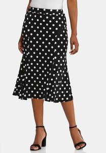 Plus Size Textured Polka Dot Skirt