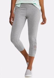 Crochet Inset Cropped Leggings