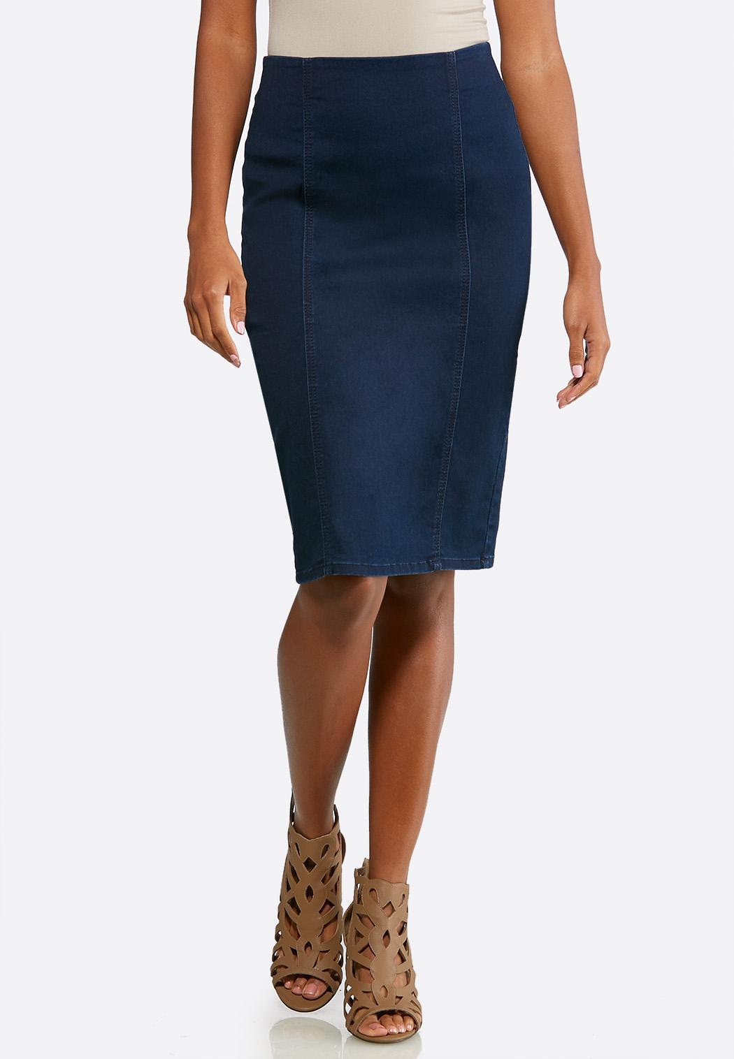 Plus Extended Pull-On Denim Pencil Skirt