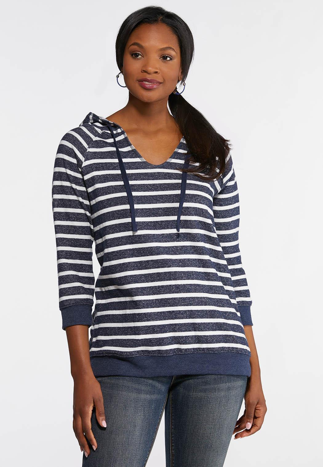 34fafb4da04fc Plus Size Striped Navy Fleece Hoodie Tops Cato Fashions