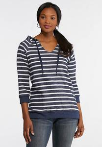 Plus Size Striped Navy Fleece Hoodie