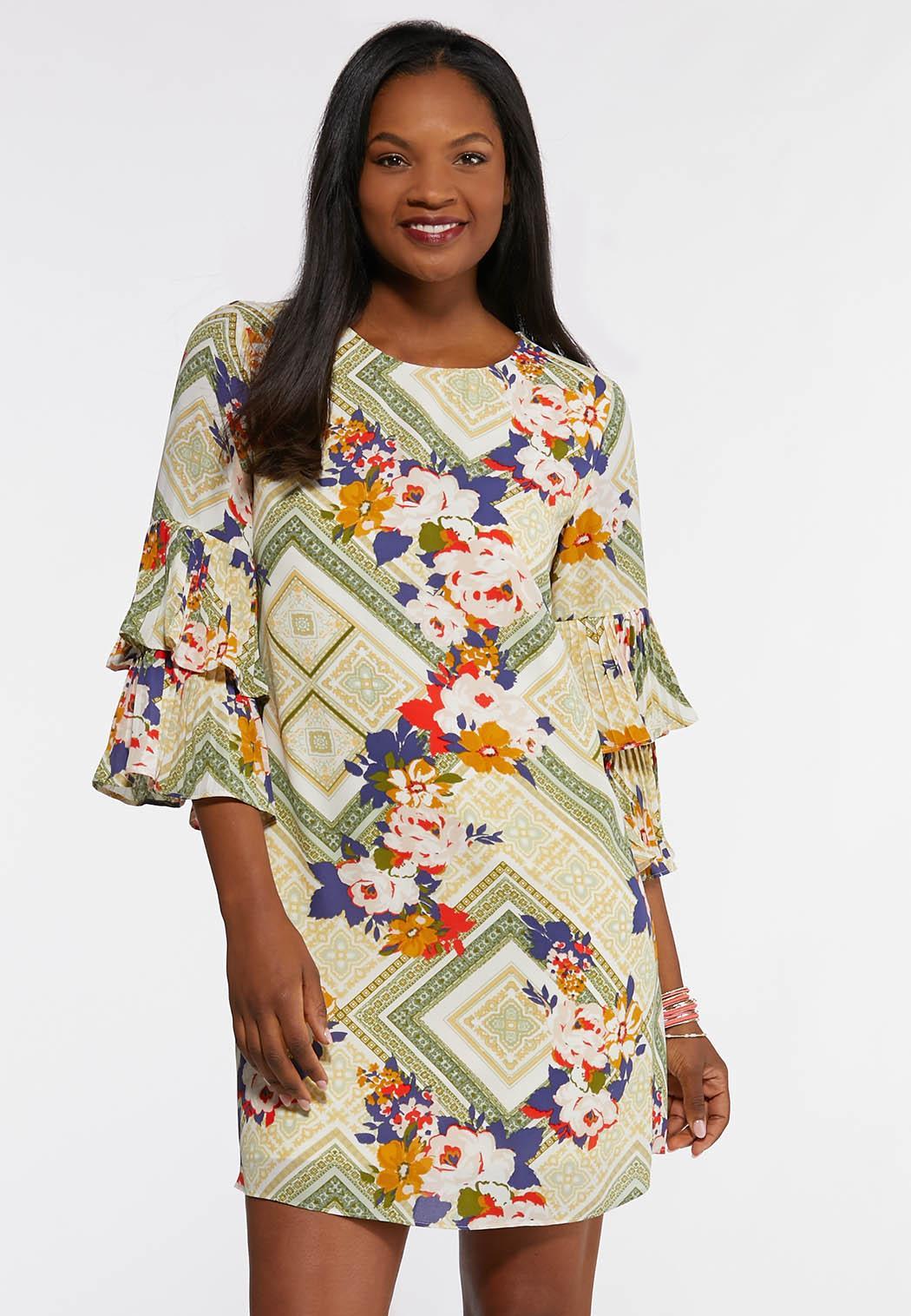 Plus Size Patchwork Floral Dress