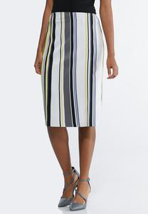 Plus Size Striped Scuba Skirt