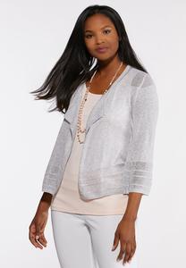 Plus Size Mesh Stitch Cardigan Sweater