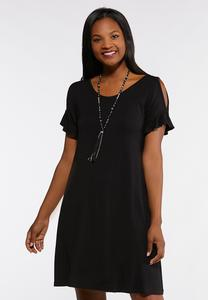 Plus Size Cold Shoulder Flounce Sleeve Dress
