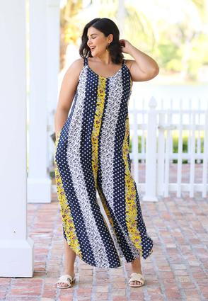 Plus Size Paisley V- Neck Genie Jumpsuit