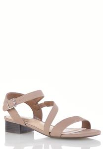 Wide Width Cross Strap Low Heeled Sandals