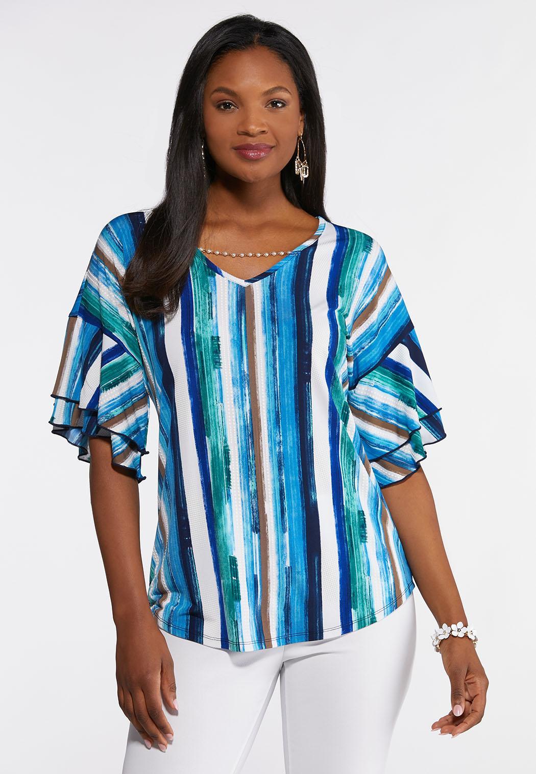 b26476b645b Stripe Embellished V-Neck Top Tops Cato Fashions