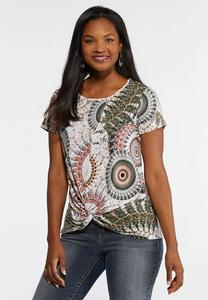 Plus Size Twisted Puff Print Top