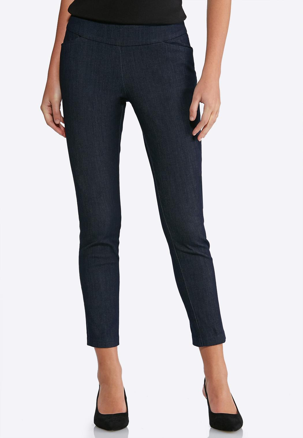 Pull-On Denim Ankle Pants