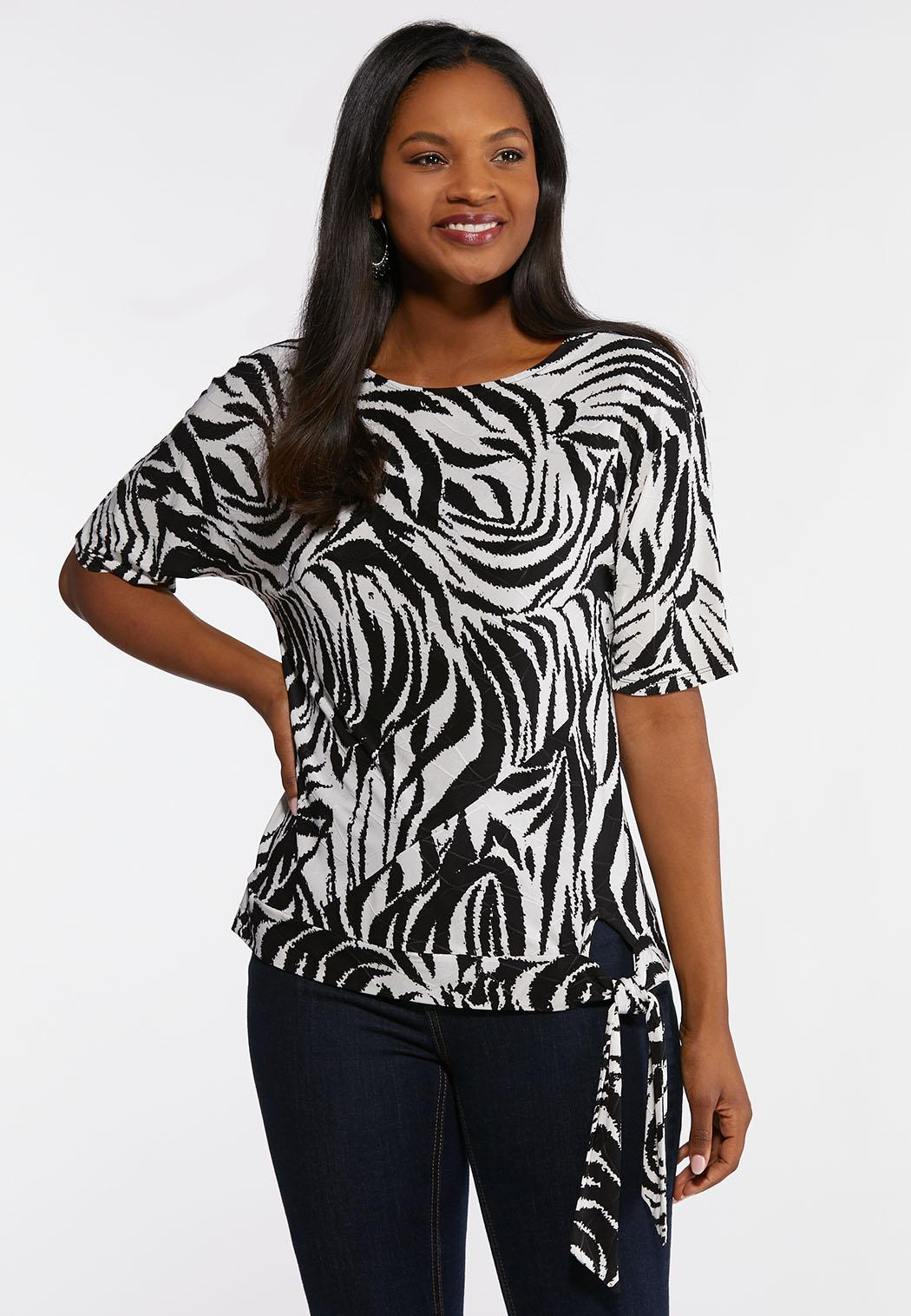 f9e894ed213bcc Plus Size Animal Print Side Tie Top Tees & Knit Tops Cato Fashions