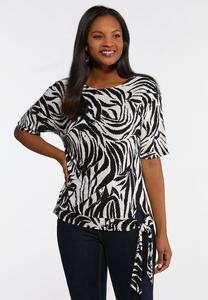 Plus Size Animal Print Side Tie Top