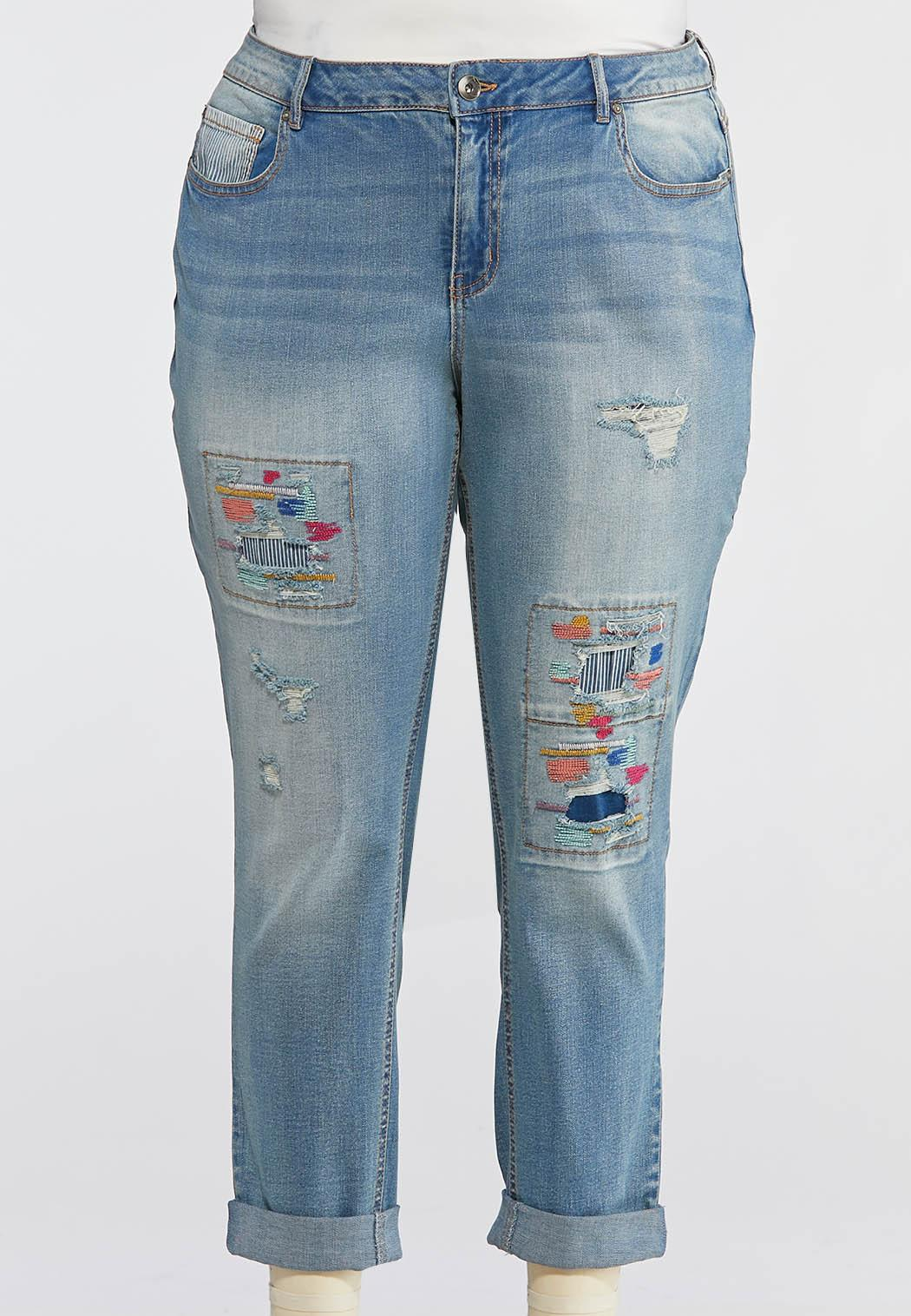Plus Size Distressed Colorful Stitch Jeans