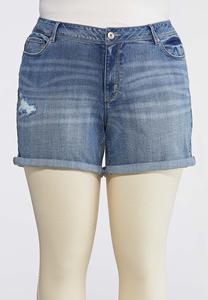 Plus Size Distressed Denim Shorts