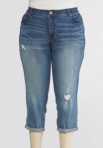 Plus Size Cropped Distressed Jeans