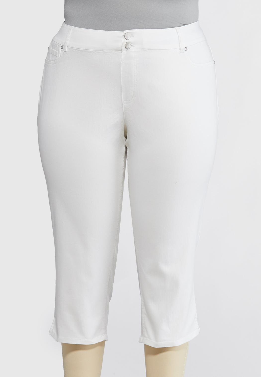 Plus Size Curvy White Cropped Skinny Jeans