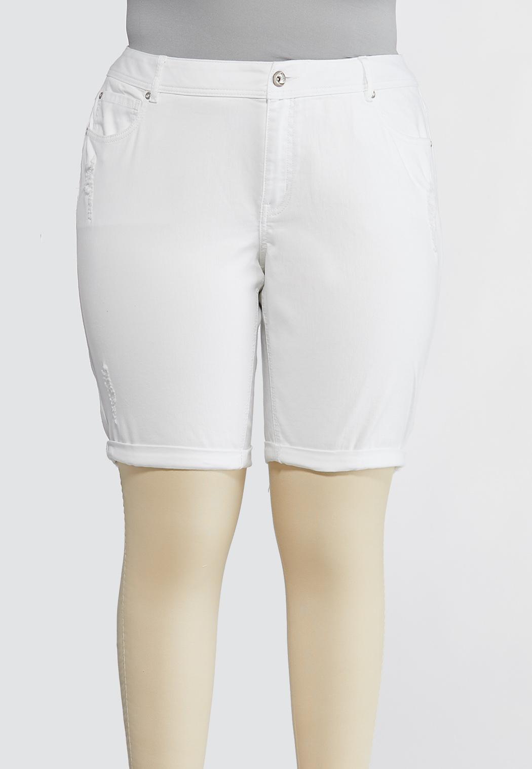 Plus Size Distressed Bermuda Denim Shorts