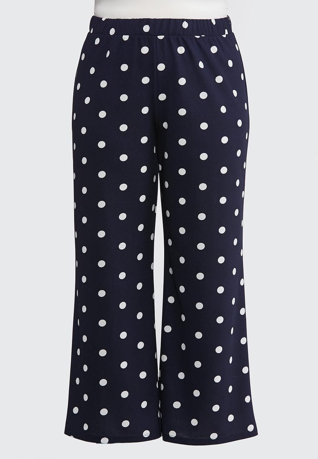 6592b3bce44 Plus Size Navy Polka Dot Palazzo Pants Wide Leg Cato Fashions