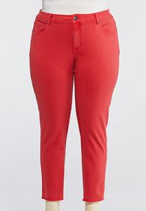 Plus Size Red Skinny Ankle Jeans