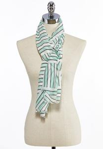 Mixed Stripe Gauze Oblong Scarf