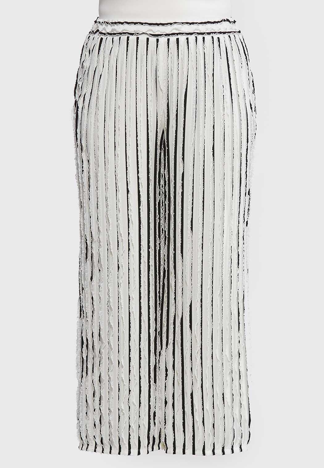 Plus Size Ruffly Striped Palazzo Pants