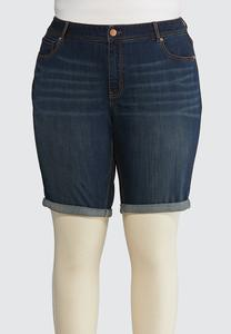 Plus Size Dark Bermuda Denim Shorts