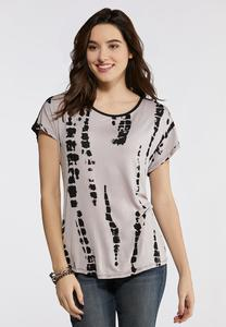 Plus Size Tie Dye Print Front Knit Top