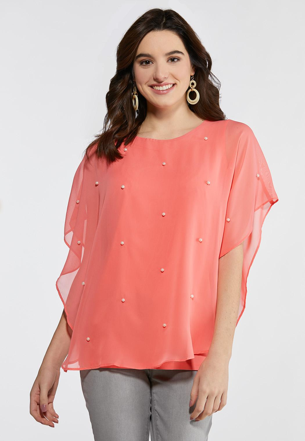 Plus Size Pearl Embellished Capelet