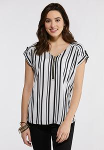 Plus Size Stripe Zippered Top