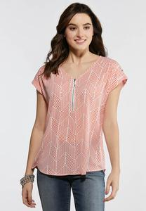 Plus Size Coral Zip Up Top