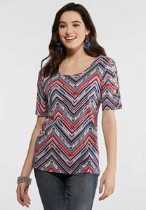 Chevron Lattice Sleeve Top