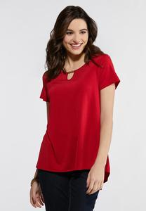 Plus Size Red Pleated Back Swing Top