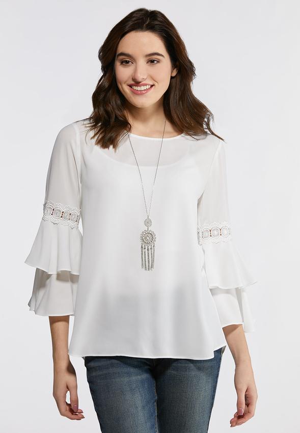 f49e852e2cb15b Double Bell Sleeve Top Shirts & Blouses Cato Fashions