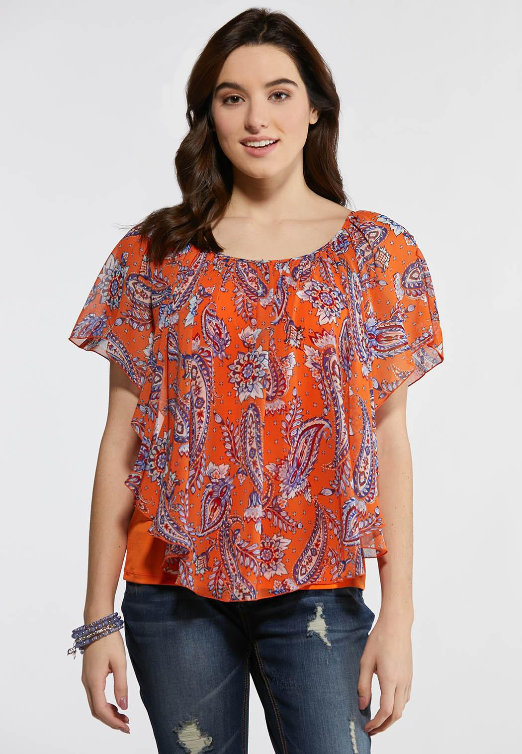 Plus Size Orange Paisley Capelet