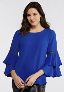 Plus Size Double Bell Sleeve Top