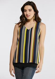 Plus Size Striped V-Neck Layered Tank