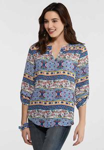 Plus Size Decorative Stripe Pullover Top